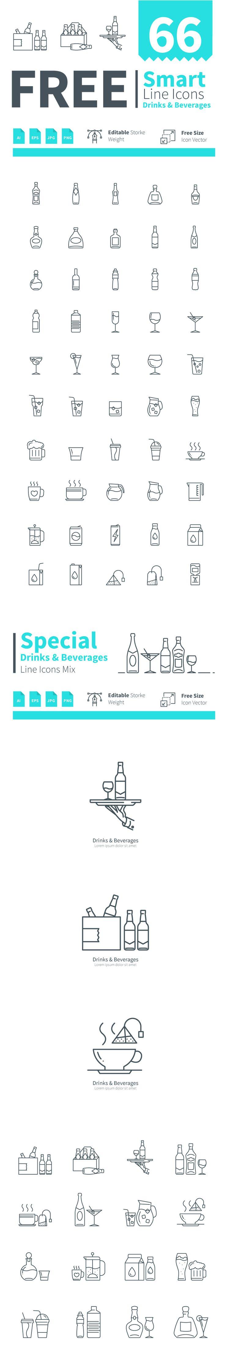 Set of Drinks & Beverages smart line icons on Behance