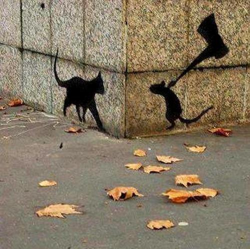 Street art le chat et la souris