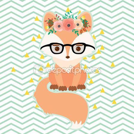 Скачать - лиса в очках в цветочный венок - Stočková иллюстрация # 120182048