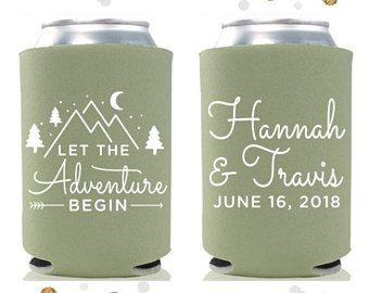 Let The Adventure Begin - Wedding Can Cooler #63- Custom - Wedding Favors, Beverage Insulators, Beer Huggers