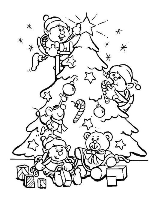 Work Together To Decorate The Christmas Tree Coloring