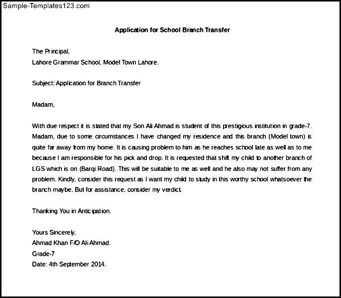 application letter for school branch transfer sle