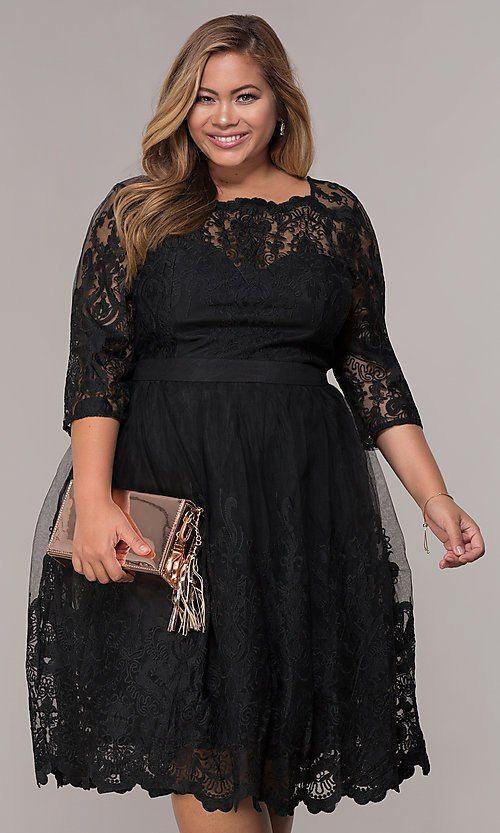 35c249ae0a6 Image of short lace plus-size 3 4-sleeve wedding-guest dress. Style   LP-25071P Front Image