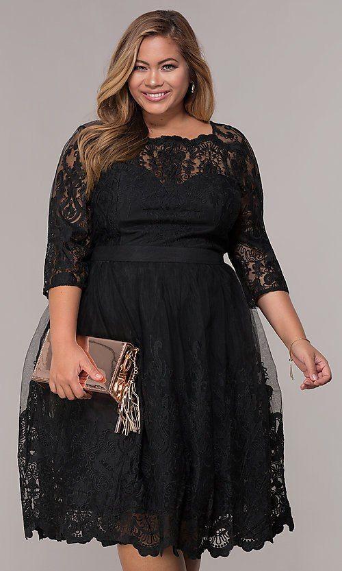 3fd23c87a419 Image of short lace plus-size 3 4-sleeve wedding-guest dress. Style   LP-25071P Front Image