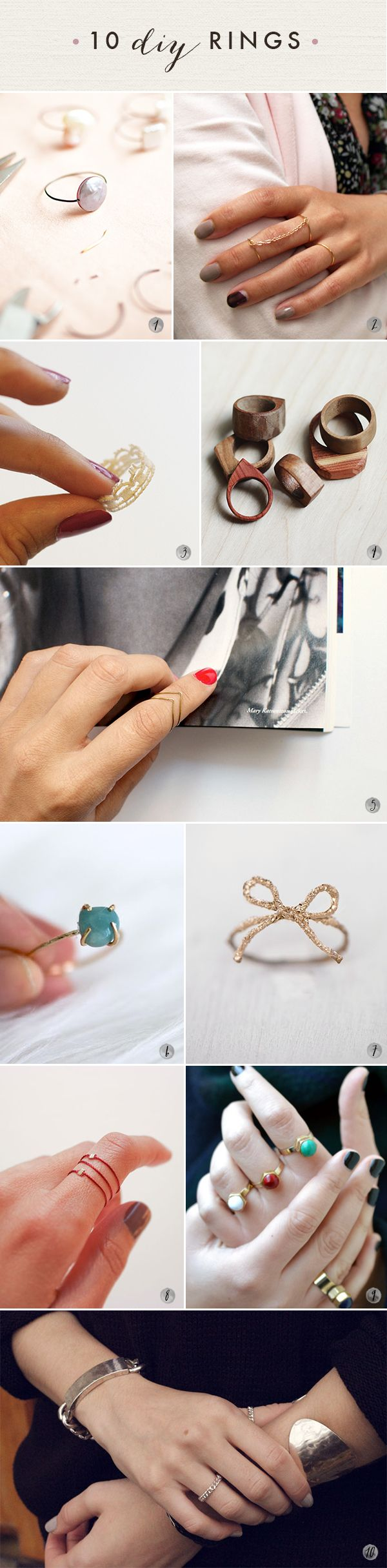10 DIY rings!  Oh the lovely things: 60 DIY Accessories- Last Minute Gifts For Fashionistas