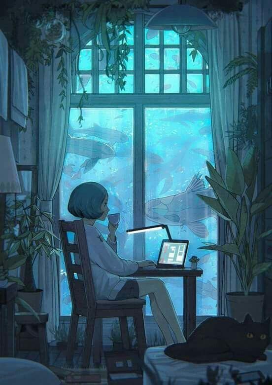 short hair girl character drawings blogger blog coffee blue