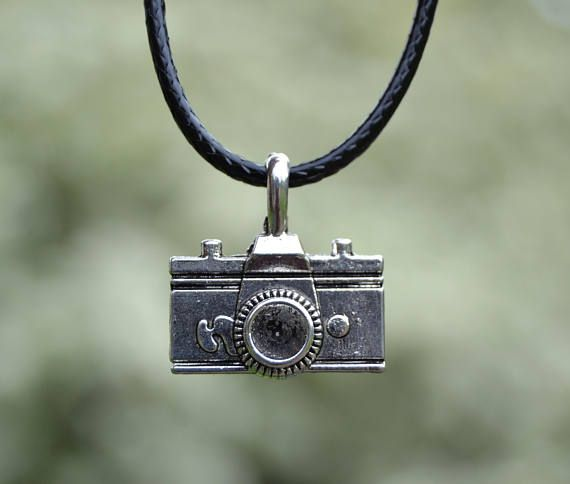Camera Choker Or Necklace. Black Leather/Waxed Cord/Silver