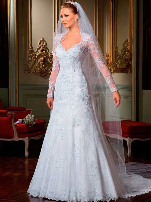 50 Modelos de Vestido de Noiva de Renda Curto/Longo/Sereia