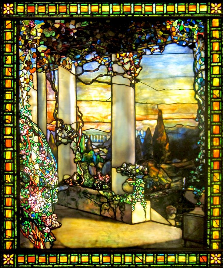 'Landscape with a Greek Temple', stained glass window designed by Louis Comfort Tiffany (c.1900), at the Cleveland Museum of Art. Original Photo: Wmpearl (CC0-PD 1.0)
