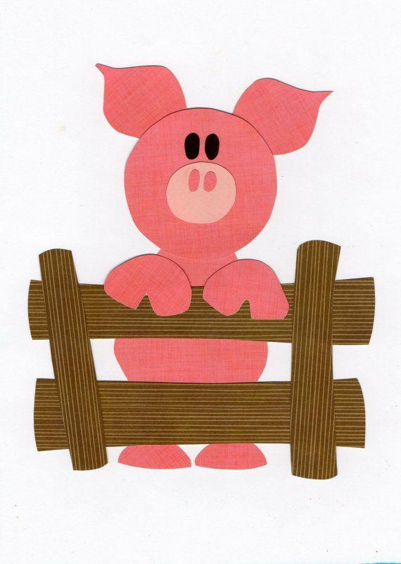 Applique Template Farm Animal Pig by ForgetMeNotByMarie on Etsy, $2.00