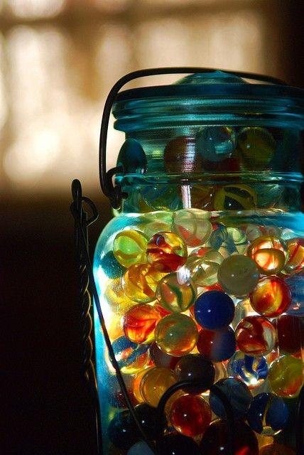 Marbles in blue mason jar