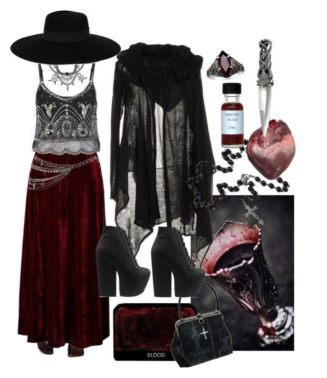 """Southern Gothic Witch: Countess"" by bloodmoonsuccubus ❤ liked on Polyvore featuring Wolford, Miss Selfridge, Résho Spirit Jelly, Fallon, Jeffrey Campbell and Maison Michel"