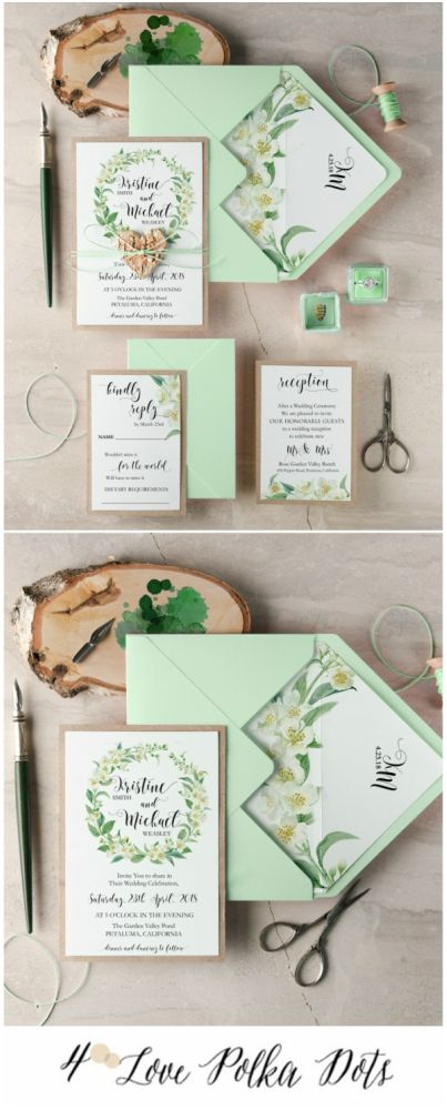 Green wedding invitation with flowers #wedding #floral #flowers #weddingideas #pastel #green