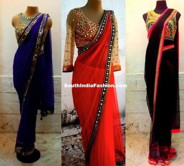 Plain chiffon sarees with mirror work borders, paired up with beautiful designer mirror work saree blouses.