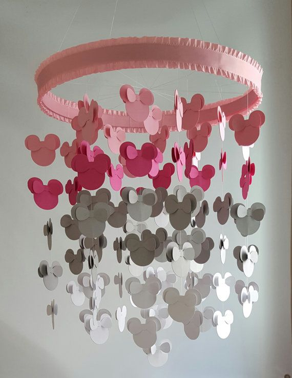 Pink Gray White Minnie Mouse Nursery Baby Mobile by magicalwhimsy This would be adorable as decor at a Minnie Mouse party.
