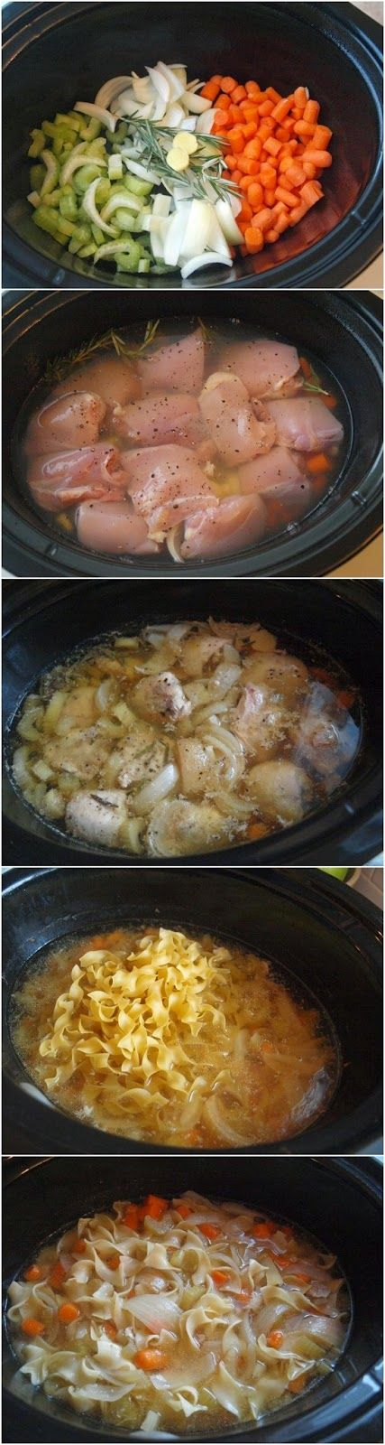 """Crockpot Chicken Noodle Soup. This is what we made for dinner with my """"Red lobster biscuits"""" :)"""