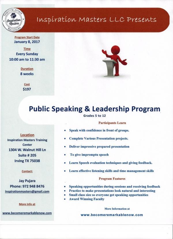 PUBLIC SPEAKING AND LEADERSHIP PROGRAM IN IRVING AND FRISCO
