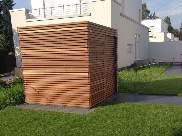 Carport Stuttgart kipptor bauseitig verkleidet mit lärchenprofilen carport