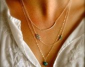 Sterling Silver Layering Necklaces Set of 3 Sideways by maldemer