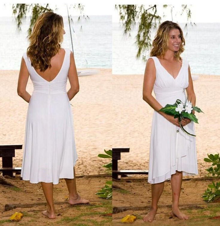 Simple white short beach wedding dresses v neck open back for Short white summer wedding dresses