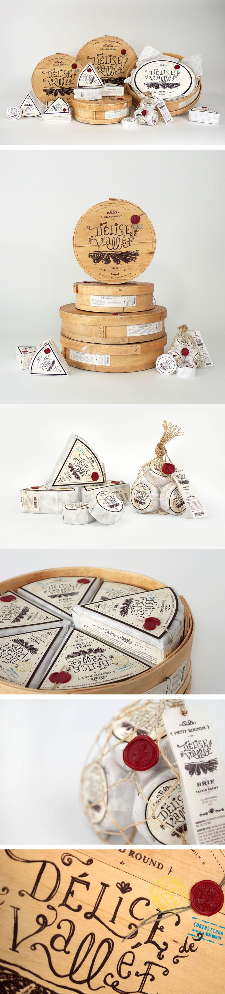 by FRED CARRIEDO.  I really love this design for chesse. The outer case has a beautiful neutral tan color wrapped in string. And the cheese itself is wrapped all so delicately in white and black. I love the typography and the personal feel to this packaging.
