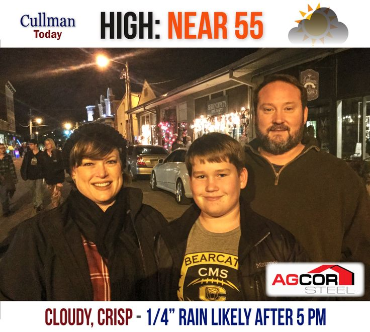 CULLMAN COUNTY WEATHER: SATURDAY - December 3rd  CLOUDY, COOL - 100% CHANCE OF NIGHTTIME RAIN - High 55°  TODAY: Cullman County's weather goes cloudy today with a high temperature of 55° and a gentle and cool north-northeast wind around 5 mph.  Sometime after 3 pm, there is a 70% chance of precipitation. You can look for rainfall amounts between one-tenth and one-quarter of an inch.