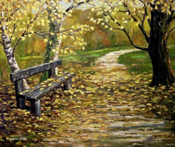 tableau peinture banc paysage chemin peinture a l 39 huile le banc oubli bancs d 39 ici et d. Black Bedroom Furniture Sets. Home Design Ideas