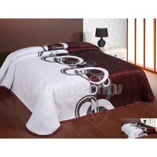 Prehoz na posteľ bielo-bordovej farby s kruhovým motívom
