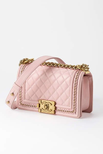 Small BOY CHANEL handbag, lambskin & gold-tone metal-light pink - CHANEL