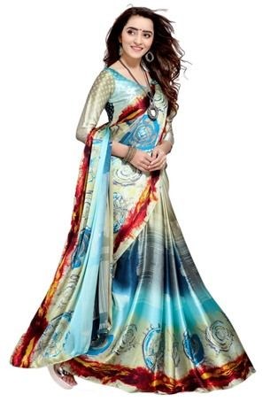 9c27f11d7a3014 Multicolor Satin Silk Printed Saree #Traditionalsaree #Traditionalsari #sari  #Saree #nikvik #usa #designer #australia #canada