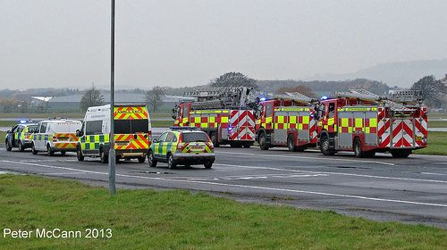 Emergency vehicles at Glasgow Airport