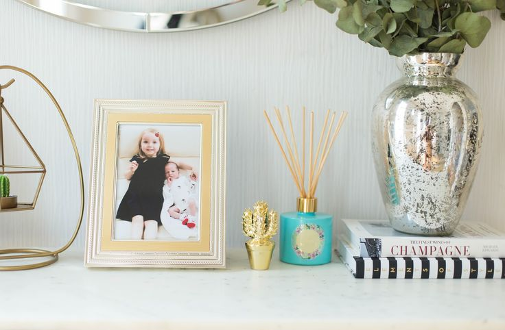 Wedgwood for Vera Wang gold photo frame, gold cactus, cactus ornament, max Benjamin reed diffuser, summer home scents, hall inspiration, chic, elegant, scandi glam