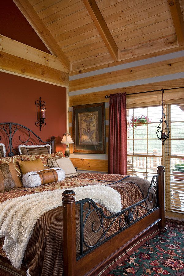 Interior, vertical, master bedroom, DeSocio residence, Henry, Tennessee, Honest Abe Log Homes on Log Homes, Timber Frame and Log Cabins by Honest Abe  http://www.honestabe.com/social-gallery/arcd-5071