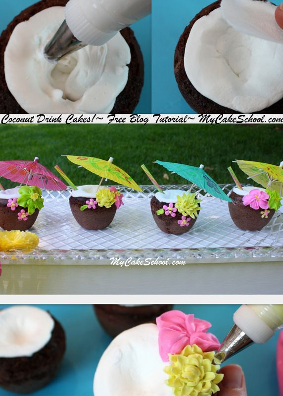 Learn to make these adorable Coconut Drink Cakes in MyCakeSchool.com's free blog tutorial!