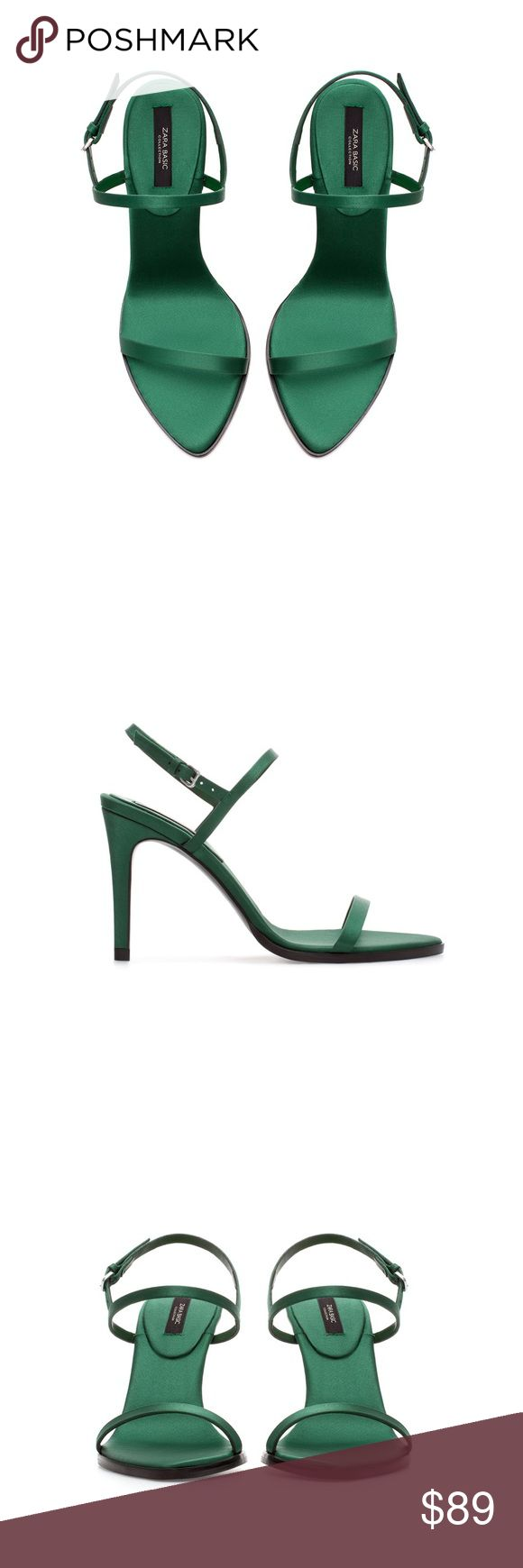 """NWT! Elegant ZARA Satin Strappy Heels Brand new with tags, never worn. Emerald green color. Heel height: 3.94"""". ZARA Eur 37/US 6.5. Sold out everywhere! Zara Shoes Heels"""