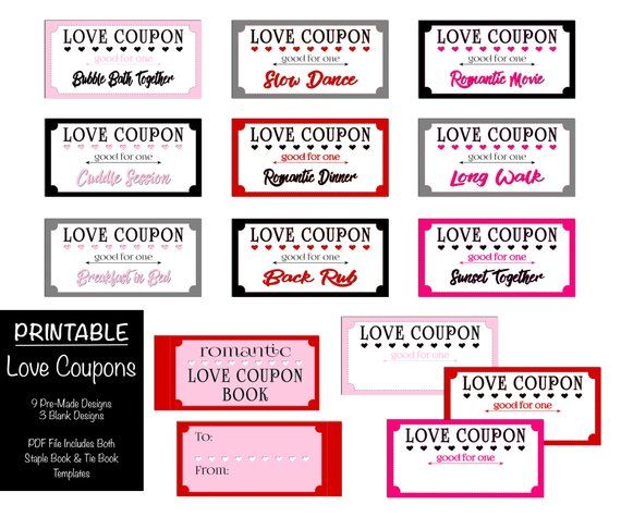 Romantic Love Coupon Book Printable Valentine S Day For Her Or Him Boyfriend Or Girlfriend Gift Husba Valentines Coupon Book Coupon Book Naughty Coupon Book