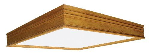Lighting by AFX CTK2U3R8 Traditional Wood Frame 2-32 Watt U-Bent T8 Light Fixture, Oak Finish with White Acrylic Diffuser