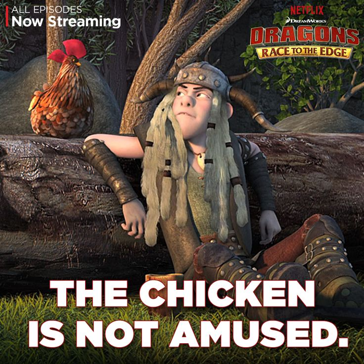 There's only one sure fire way to amuse this chicken. Join Tuffnut and the chicken to watch Dragons: Race to the Edge today! #DreamWorksDragons