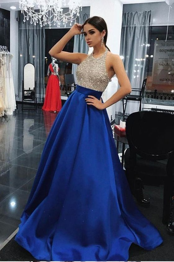 Royal Blue Beading Prom Dresses Long 2018 Ever Pretty Backless Evening Gowns  A Line Formal Dress 37cd2bafb42a