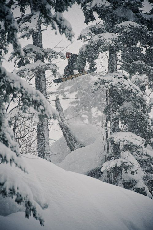 the best snowboarding adventures happen when you go into the woods