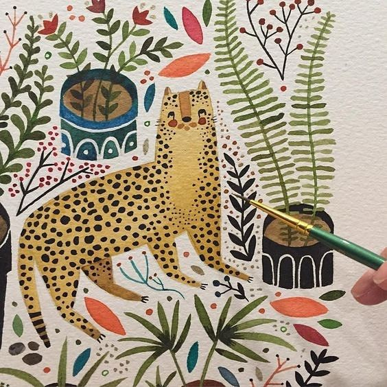 A beautiful detail of the work of illustrator @maya_hanisch. Love the tiger! #mayahanisch #illustration