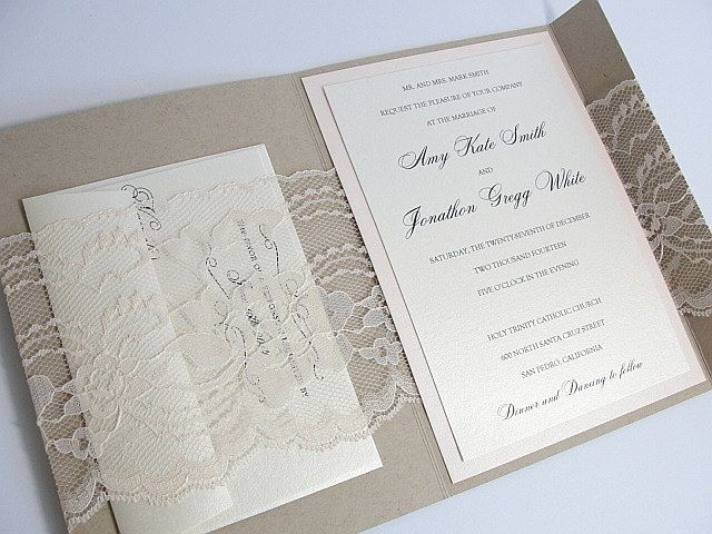 Wedding Invitation Lace Wedding Invitation by LavenderPaperie1