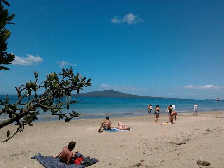 Auckland Summer. Sunny Takapuna Beach.