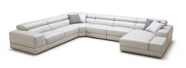 SKU: VIG-VGKK1576-R715-WHT-SF Set Includes: One Chaise, One 3 Seaters, One Corner and Two single Seaters Upholstered In Full Genuine Leather Color: White R715 Right Facing Chaise Slide Out Seats Adjus