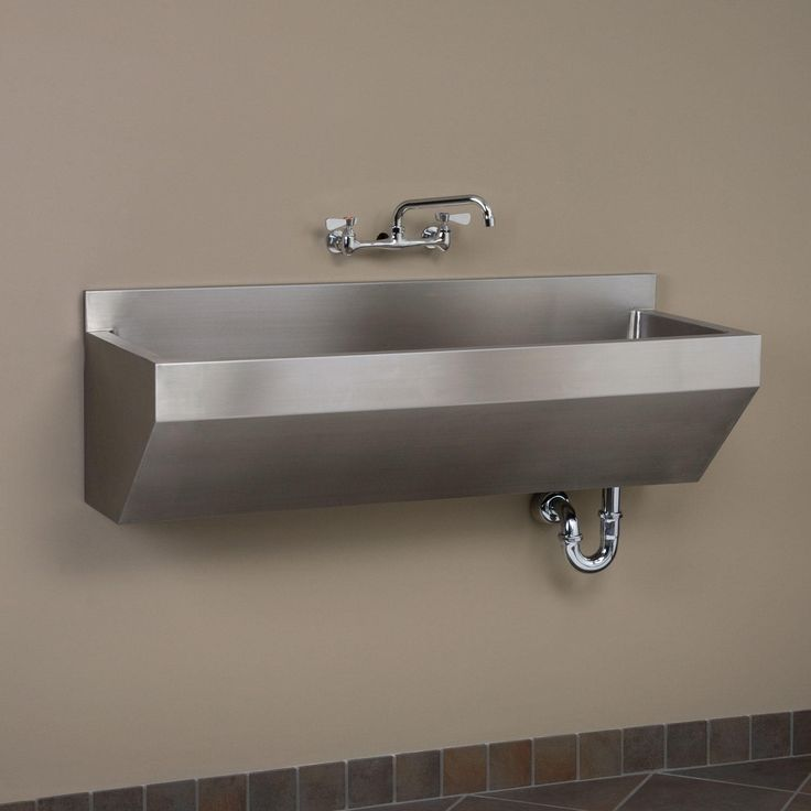 "47"" Stainless Steel Wall-Mount Commercial Sink - Angled Front"