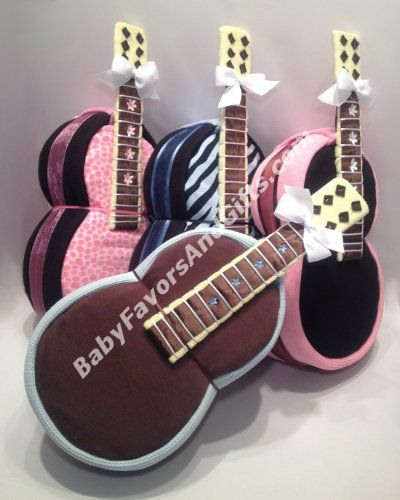 Guitar Diaper Cake - Neutral Diaper Cakes - Baby shower gifts by BabyFavorsAndGifts.com