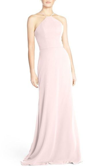 Hayley Paige Occasions Strappy V-Back Chiffon Halter Gown available at #Nordstrom