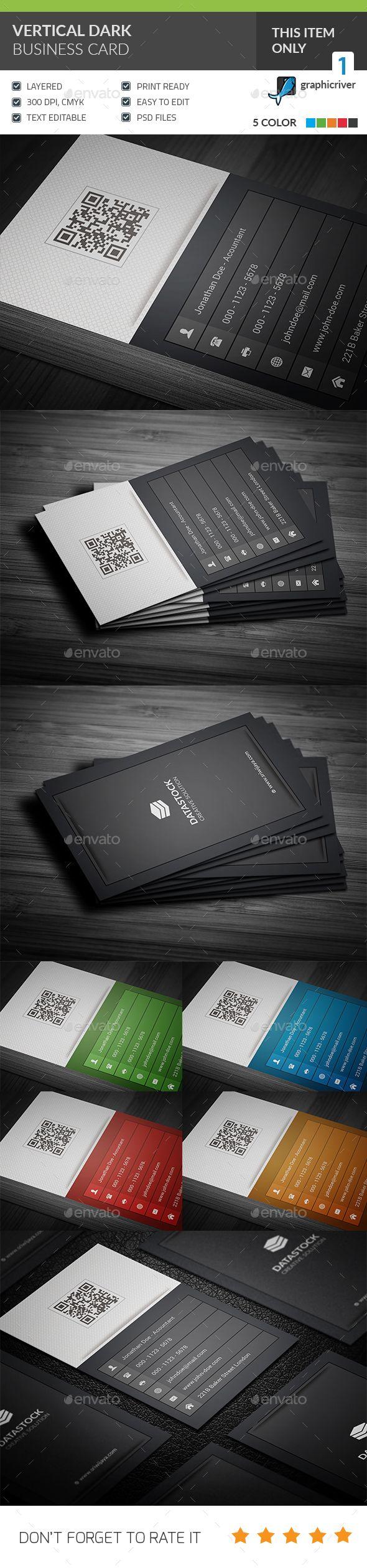 Vertical Dark Corporate Business Card Template PSD