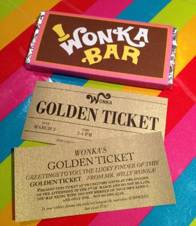 Wonka bar with golden ticket invitation Rainbow hat cake candy bar for take home favor bags Fizzy lifting drinks