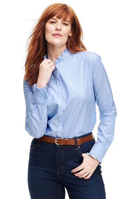 Women's Plus Size Ruffle Oxford Shirt